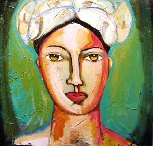 portrait-with-calla-hat-yolanda-gonzalez, portrait with hat, art, female with white hat